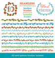 set of seamless hand-drawn floral borders vector image