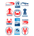 seafood icons for restaurant menu vector image vector image