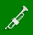 Musical instrument trumpet sign paper vector image