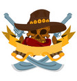 skull in a hat cowboy banner wild west theme vector image