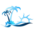 Sun on waves and palms silhouette vector image