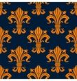 Orange floral fleur-de-lis seamless pattern vector image
