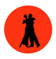 dance pair in tango passion black silhouettes vector image