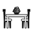 dining table with chairs frontview furniture ico vector image