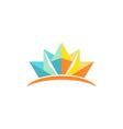 lotus flower geometry color logo vector image