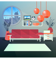 Modern Interior of Living Room with Book Shelves vector image