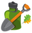 shovel and glass jar objects traveler hunter vector image