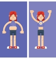 Woman before and after training esp10 vector image