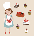 Young woman preparing sweet cakes vector image