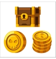 Cartoon golden coins closed wooden chest vector image