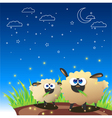 Sheep Once Upon Starry Night vector image vector image