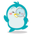 collection of penguin with magnifying vector image