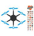 hexacopter icon with valentine bonus vector image