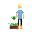 active senior man character with watering can care vector image