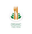 Organic food menu title logo template Vegetarian vector image
