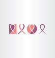 cancer ribbon icon set logo vector image