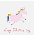 Happy Valentines Day Love card Cute unicorn vector image