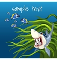 Angry shark among algae and a set of small fish vector image