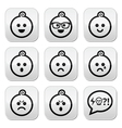 Baby boy faces avatar buttons set vector image