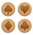 Casino wooden round icon card suits vector image