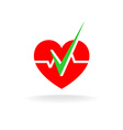 Heart is OK logo Heart silhouette with graph line vector image