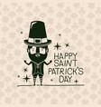 poster happy saint patricks day with leprechaun in vector image