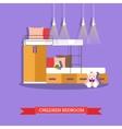 Kids bedroom interior in flat style vector image