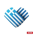 Flag icon in the form of heart I love Greece vector image