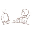 A plain sketch of a boy watching TV vector image