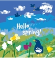 Spring color flowers and birds sign card vector image