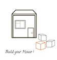 House and three blocks concept vector image