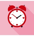 Time for Love Red Valentine Alarm Clock in Flat vector image