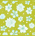 tropical green blue flowers seamless repeat vector image