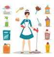 housewife girl homemaker cleaning pretty girl wash vector image