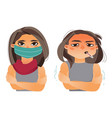woman having flu fever wearing medical mask vector image vector image