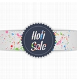 Holi Sale blue Emblem with white Ribbon vector image