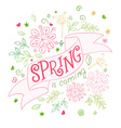 hand drawing lettering quote - spring is coming - vector image