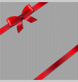 grey knitted background with red ribbon vector image