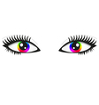 Pair of bright rainbow eyes vector image