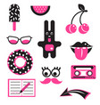 pink and black fun patches stickers vector image