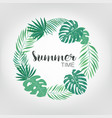 round frame with tropical palm leaves exotic vector image