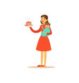 super mom character with child holding cake vector image