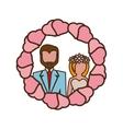 vintage couple wedding hearts circle vector image