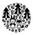 cute scandinavian round folk art pattern vector image