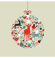 Christmas icons in bauble shape vector image