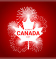 maple leaf with fireworks for national day of vector image