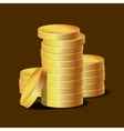 Stacks of Golden Coins on Dark Background vector image vector image