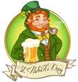 Leprechaun Irish man with beer vector image