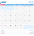 Calendar Template for June 2016 Week Starts Sunday vector image