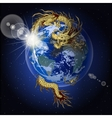 Chinese dragon holding planet earth vector image